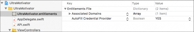 Xcode: Entitlements plist
