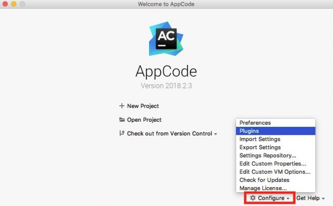 AppCode plugin from home screen