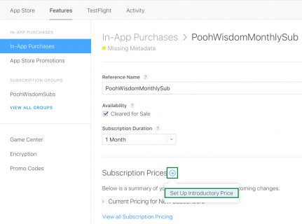 Set Subscription Prices for Introductory Pricing iOS