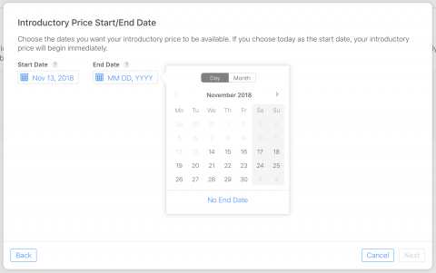 Set Dates for Introductory Pricing iOS