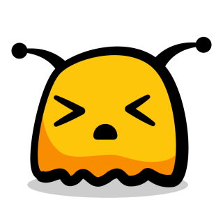 Annoyed yellow monster with closed eyes