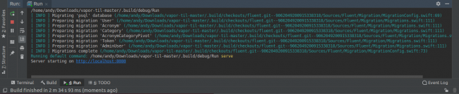 - App Running 650x134 - Using CLion as an IDE for Server Side Swift Apps on Linux