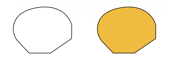 two shape outlines, one white and one filled with yellow
