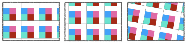 three variations of the repeated pattern cell