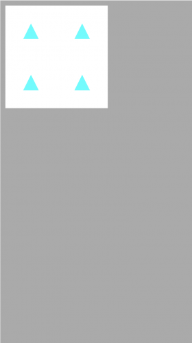 Four cyan triangles pointing upward on a white background