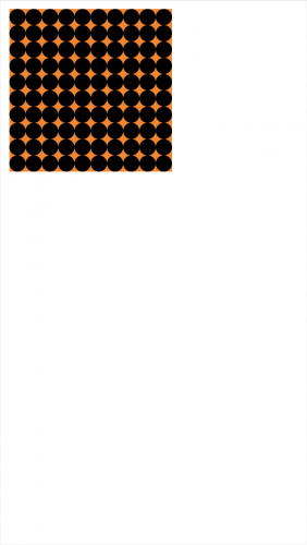 Orange square filled with black circles touching each other