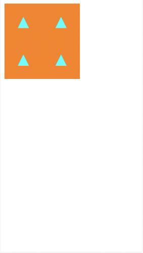 Four cyan triangles pointing upward on an orange background
