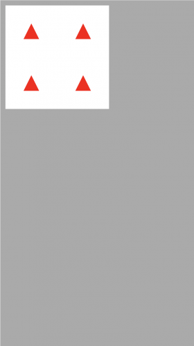 Four red triangles pointing upward on a white background
