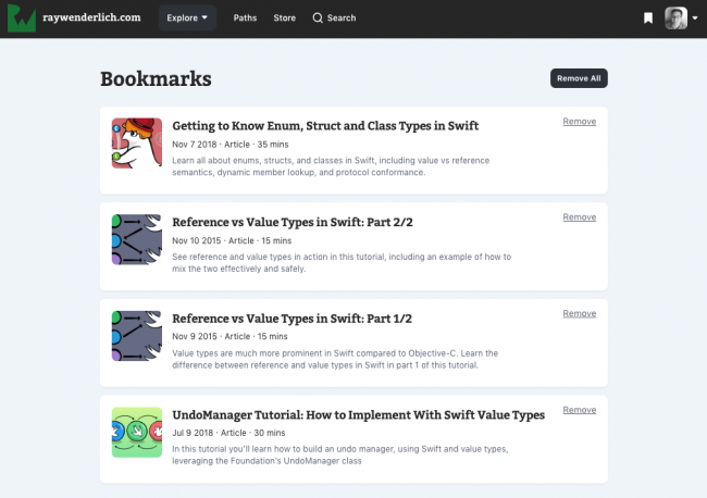 New Dark Mode and Bookmarking Features on raywenderlich com