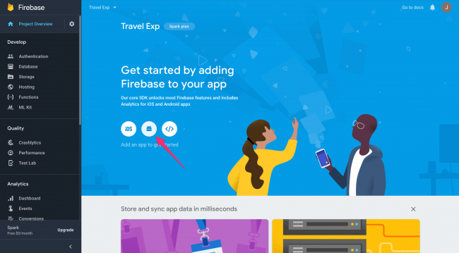 Click the Android icon to add Firebase to your Android app
