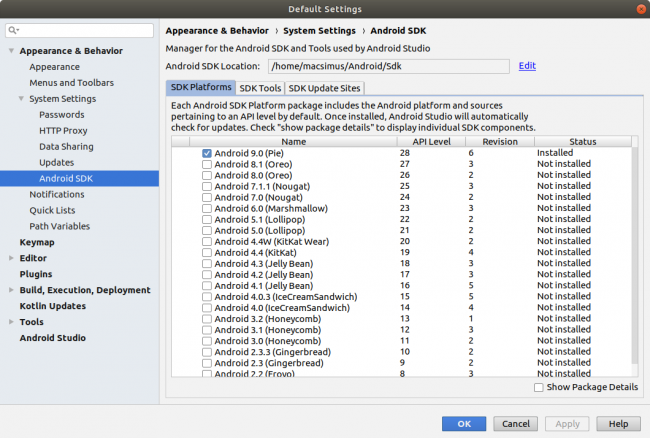 Android Studio - SDK Platforms
