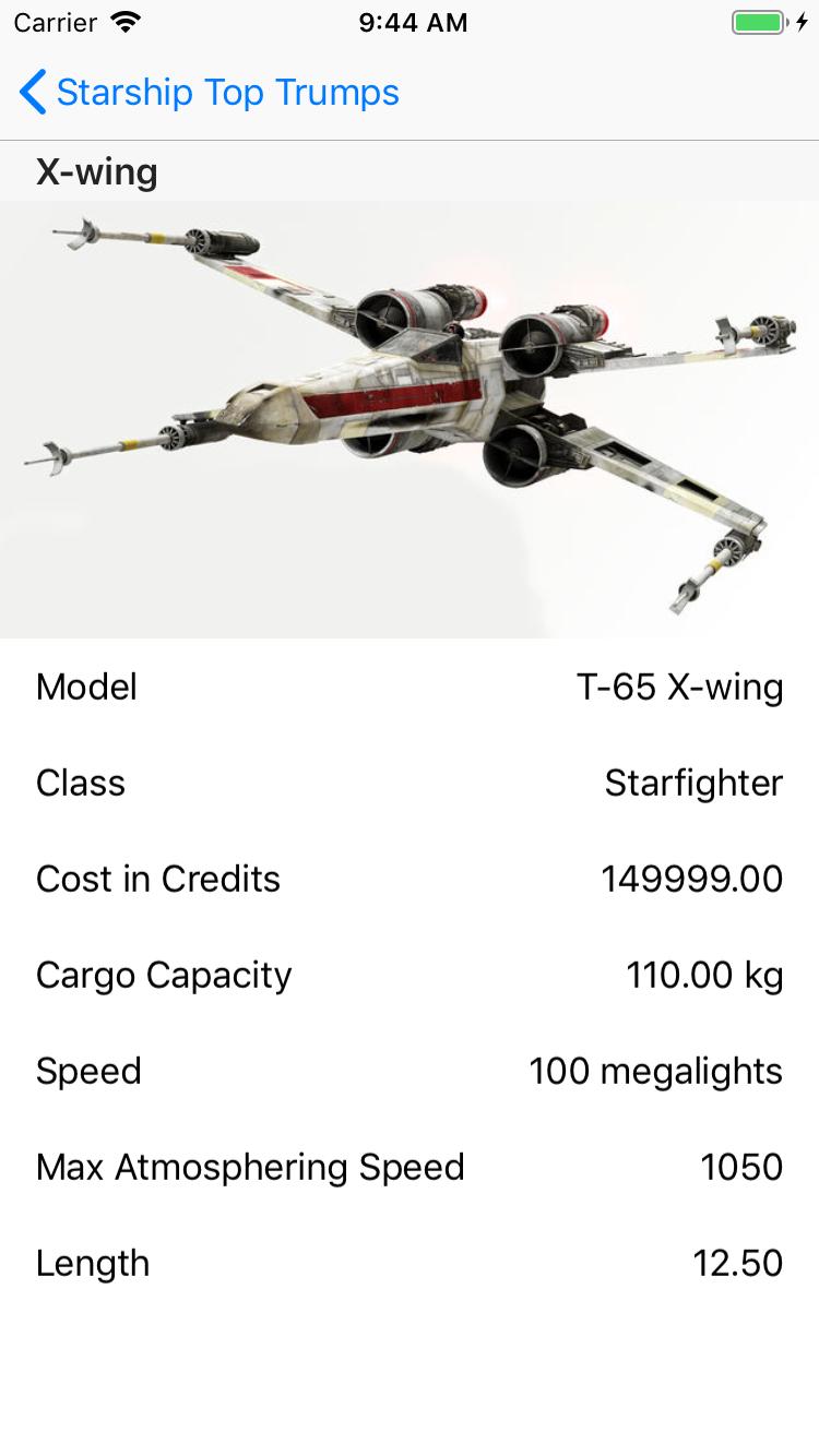 Starting starship detail