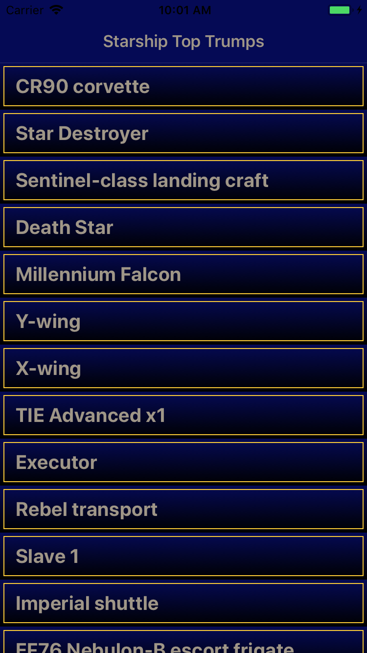 Finished starship list