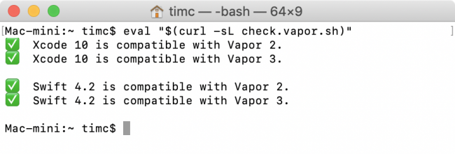 Check Vapor command