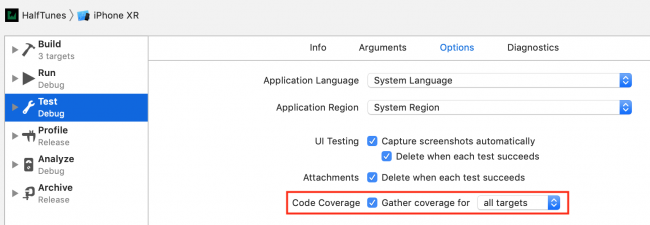 iOS Unit Testing: Setting the Code Coverage Switch