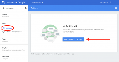 Add your first Action from Actions Console