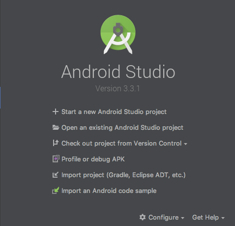 Welcome to Android Studio dialog