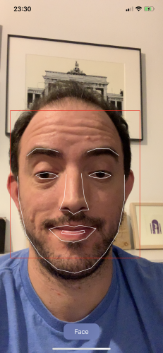 iOS face detection all facial features detected  - facelasers full face 231x500 - Face Detection Tutorial Using the Vision Framework for iOS