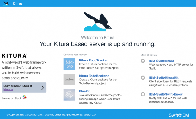 Kitura welcome page