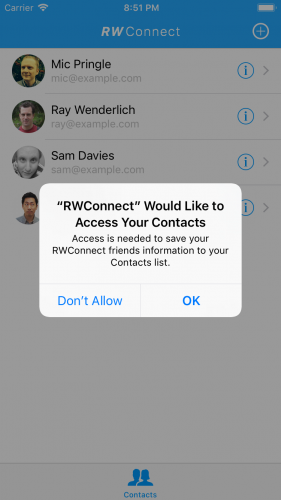 Contacts framework permission alert