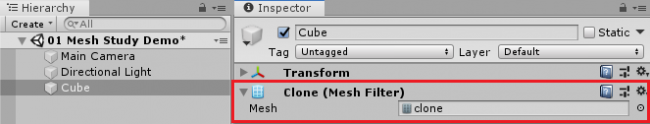 Screenshot showing the cloned mesh filter in the Inspector.