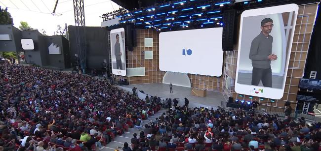 Sundar Pichai presenting at Google I/O