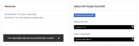 App Engine creation success