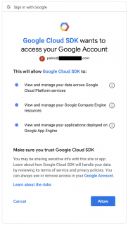 Authorize Google Cloud SDK