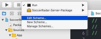 Edit the run scheme in Xcode