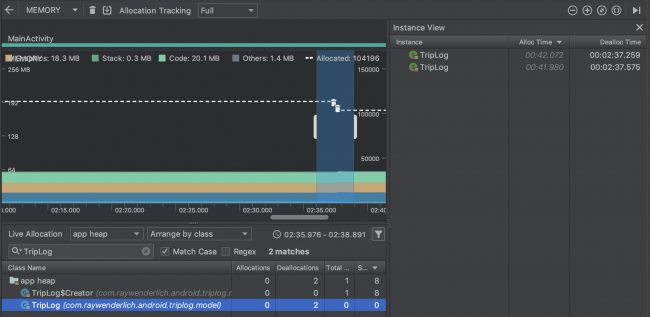 android memory profiler deallocs