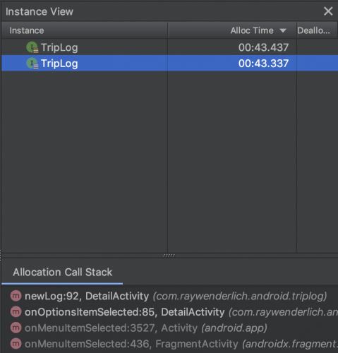 android memory profiler triplog first alloc