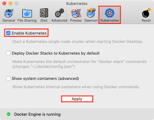 Enabling Kubernetes within Docker Preferences