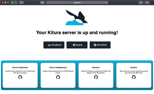 Kitura HomePage up and running on your localhost