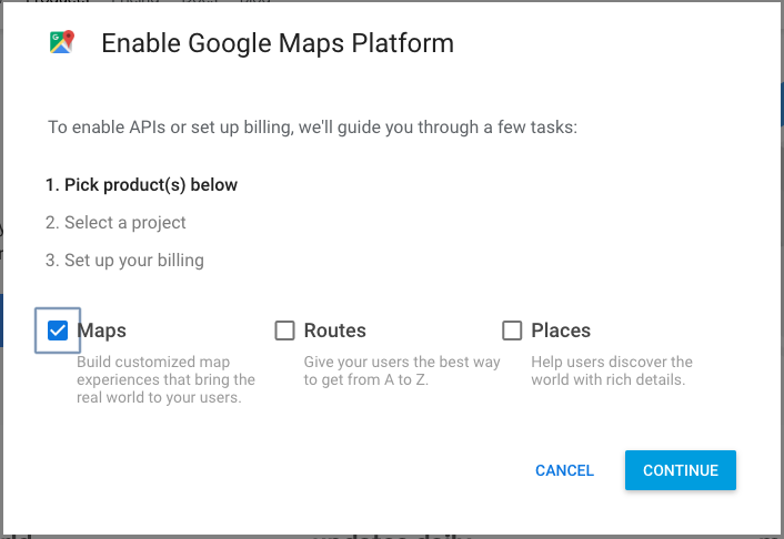 Maps API Key wizard
