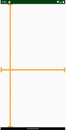 White screen black navigation and status bars. A gold, horizontal line crossing the bidding of the screen and another vertical line across the left fifth of the page.