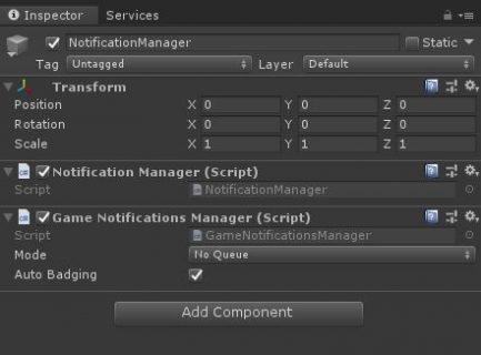 Notifications Manager setup