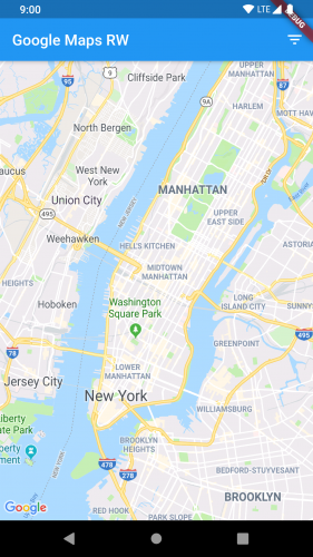 app screenshot with map centered on Manhattan