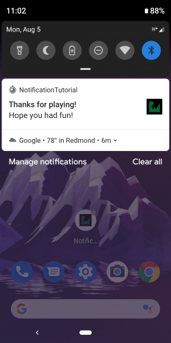 Notifications successfully arriving on a device