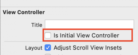 Is Initial View Controller Checkmark