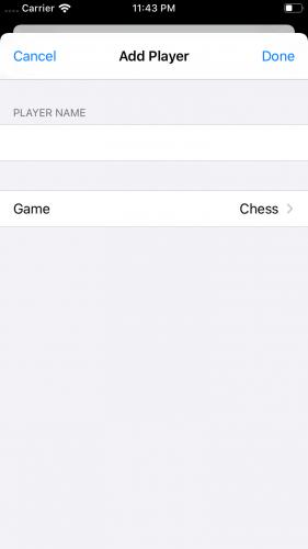 Simulator Add Player Screen