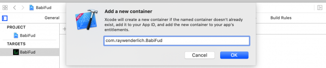 Adding a CloudKit container in Xcode 11