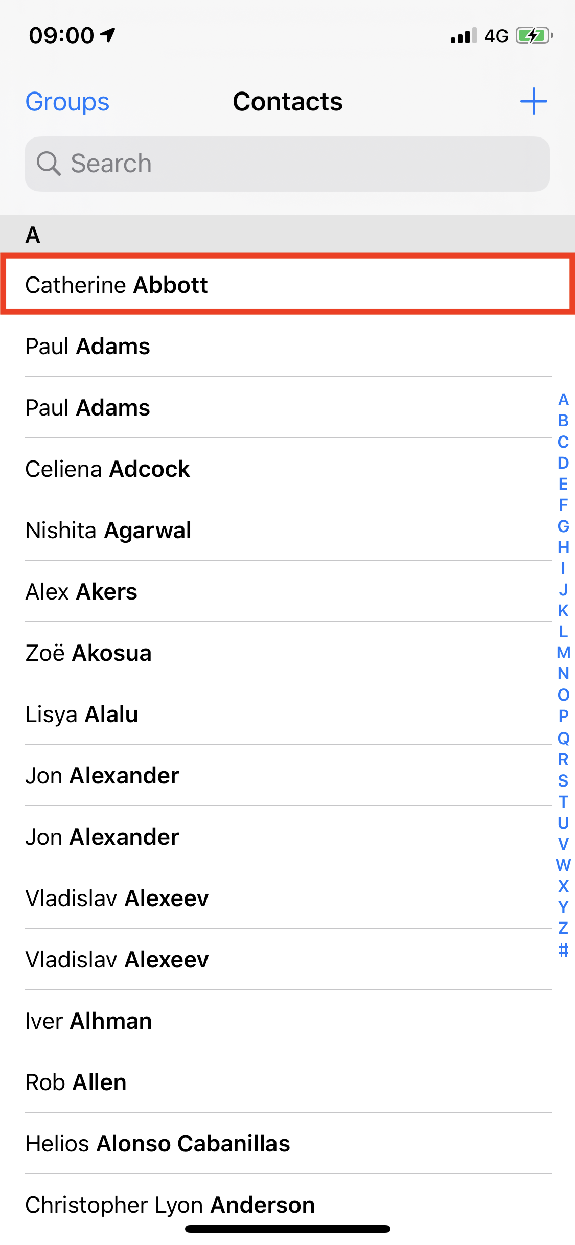 An item in the contacts app