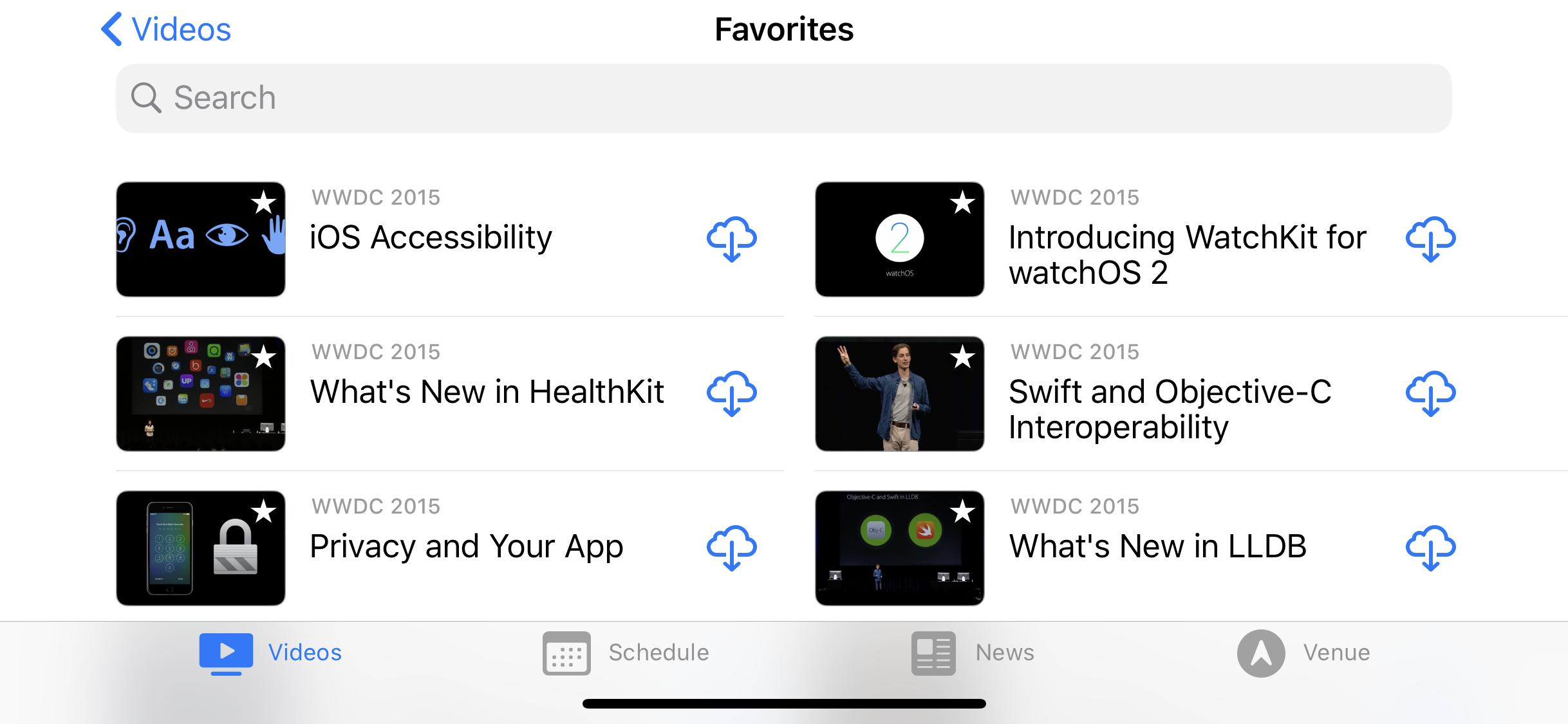 Columns in the WWDC videos app
