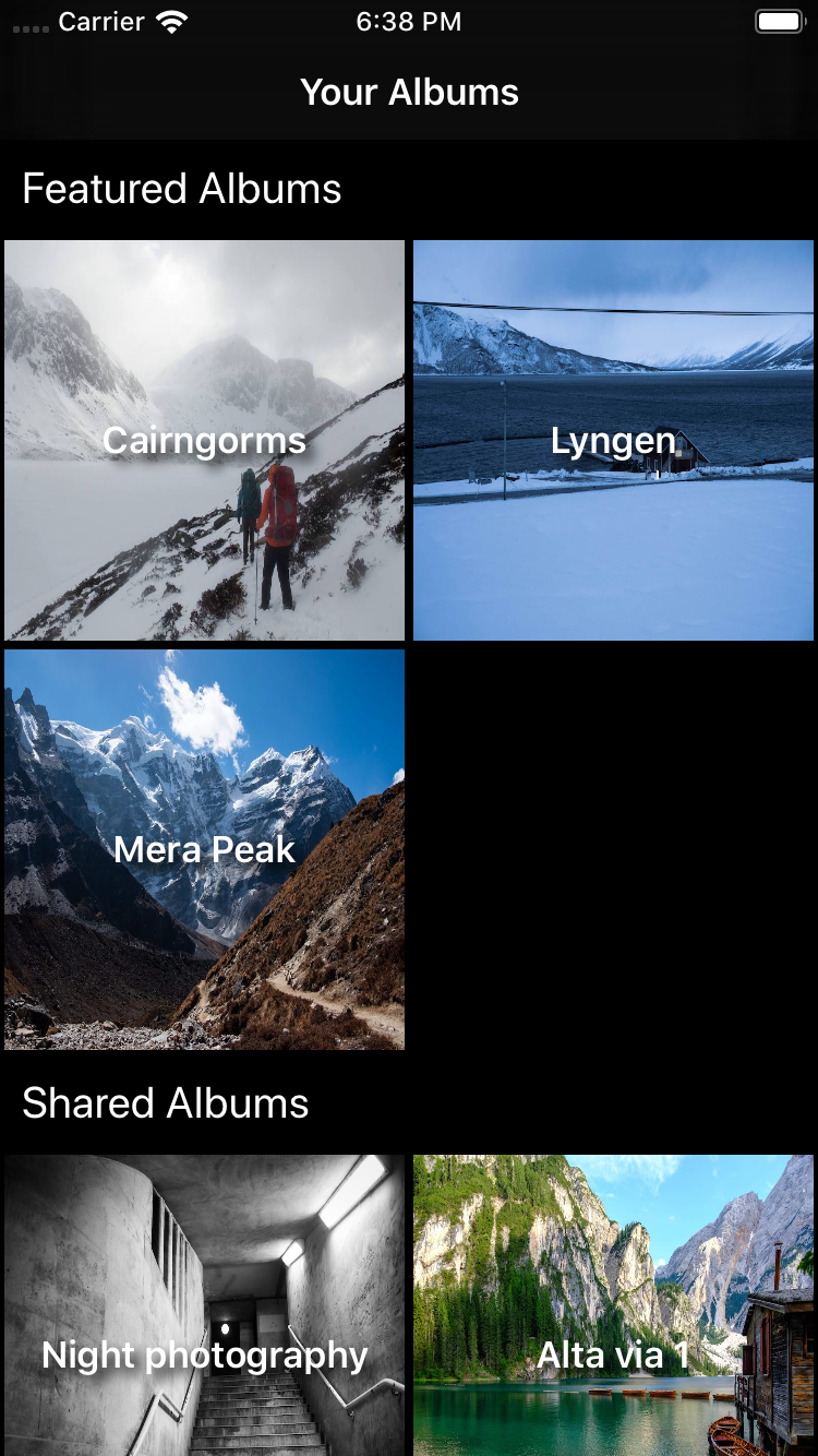 Adding headers to album browsing view