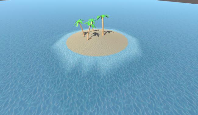 Desert island scene with blended edges