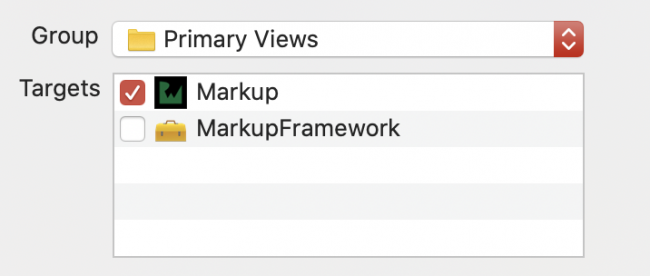 MarkUp target selected checkbox