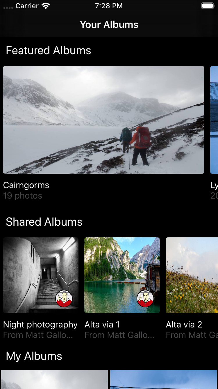 Complex layouts in the album selection view