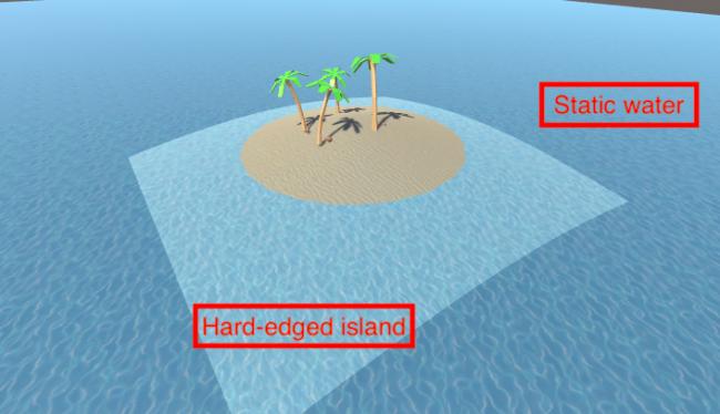 Desert island scene at the start