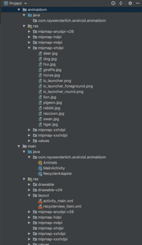 Animaldom's final directory structure