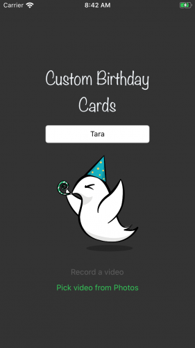Custom birthday cards video picker screen